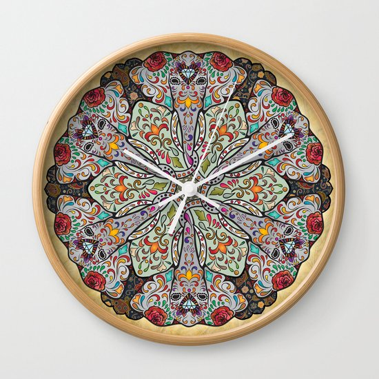 Mandala Elephants Wall Clock by Peter Awax