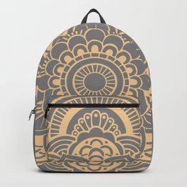 Mandala Flower Gray & Peach Backpack