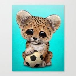 Leopard Cub With Football Soccer Ball Canvas Print