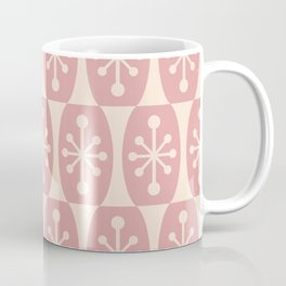 Mid Century Modern Atomic Fusion Pattern 334 Dusty Rose and Beige Coffee Mug