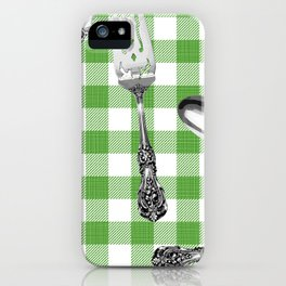 Utensils on Green Picnic Blanket iPhone Case