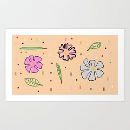 Flowers and Dots and Leaves Art Print