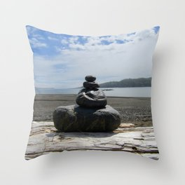 Finding Balance at the Beach Throw Pillow
