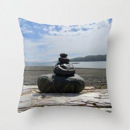 Finding Balance at the Beach Throw Pillow