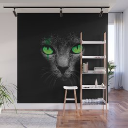 Black Cat with Green Eyes Wall Mural
