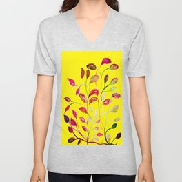 Red and Green Leaves! Yellow Sunshine! Unisex V-Neck