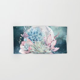 Beautiful Succulents Full Moon Teal Pink Hand & Bath Towel