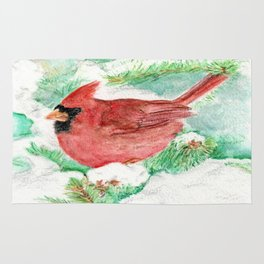 Cardinal and Snowy Pines Rug