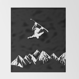 Rocky Mountain Snowboarder Catching Air Throw Blanket