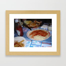 pasta and french fries and eggplant parm Framed Art Print