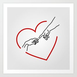 The creation of Adam- The hands of God and Adam within a red heart Art Print