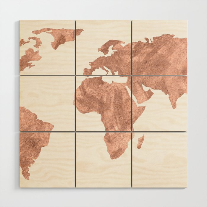 World Map Rose Gold Pink Vintage Wood Wall Art by mapmaker | Society6