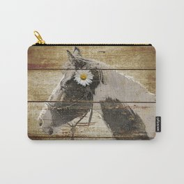 Daisy Flower on Rustic Brown Cream Horse Country Barn Art A166 Carry-All Pouch
