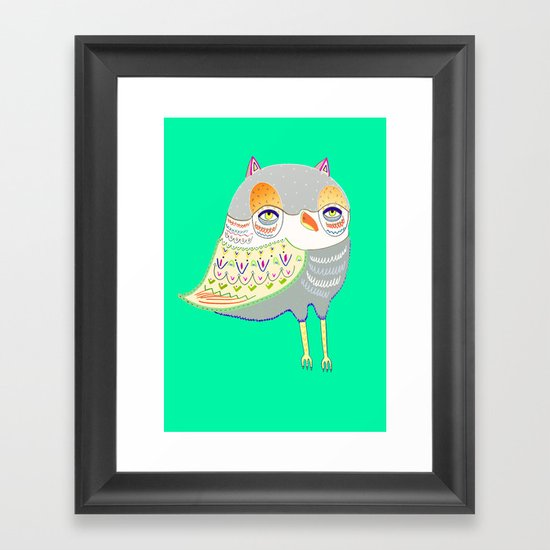 owl illustration, owl print, owl art Framed Art Print