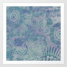 Relaxing Blues anfd Purples flower pattern Art Print