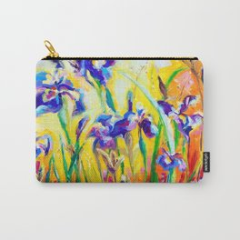 Alpha and Omega Impressionist Blue Irises Carry-All Pouch