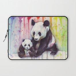 Rainbow Pandas Watercolor Mom and Baby Panda Nursery Art Laptop Sleeve