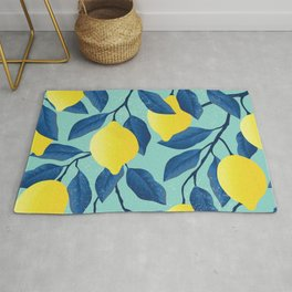 Vintage yellow lemon on the branches with leaves and blue sky hand drawn illustration pattern Rug