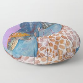 Turtle and the Giraffe Floor Pillow