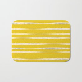 Abstract wavy stripes in mustard yellow, grey, and off-white Bath Mat