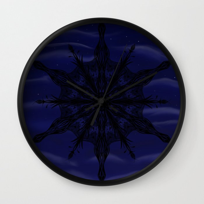Gothic Snowflake Silhouette Wall Clock