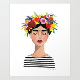 Floral Frida - Black & White Art Print