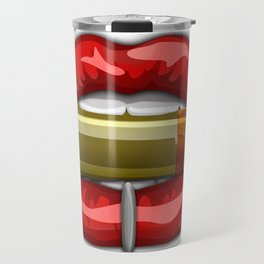 Biting The Bullet Pierced Red Lips on White Travel Mug