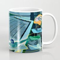 swimming Mugs featuring Swimming by Robin Curtiss