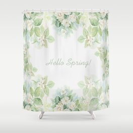 Spring floral watercolor painting & Quote Shower Curtain