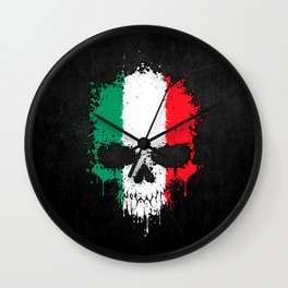 Flag of Italy on a Chaotic Splatter Skull Wall Clock