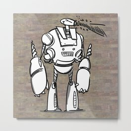 Happy Robot and his Blaster Metal Print
