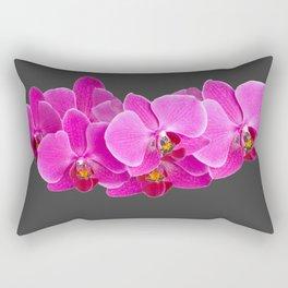 CHARCOAL GREY PURPLE PINK ORCHIDS Rectangular Pillow
