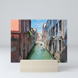 Typical canals with old houses Venice Mini Art Print