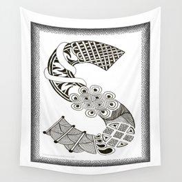 Zentangle S Monogram Alphabet Initials Wall Tapestry
