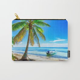 Summer ocean tropical islands beach palm trees boat waves coast Carry-All Pouch