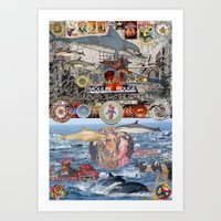 moulin rouge Art Prints featuring Dolphin,Dinner Plate, Moulin Rouge by Fredmarinello