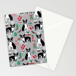 Boston Terrier christmas holiday pattern design dog breed gifts pet friendly home decor Stationery Cards