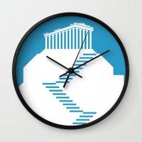 greece Wall Clocks featuring GREECE by Marcus Wild