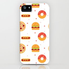 Pizza Pies, Cheeseburgers, Hot Dogs, and Donuts Pattern iPhone Case