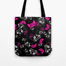 Video Game Pink on Black Tote Bag