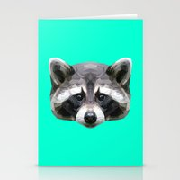 rocket raccoon Stationery Cards featuring Raccoon // Mint by peachandguava