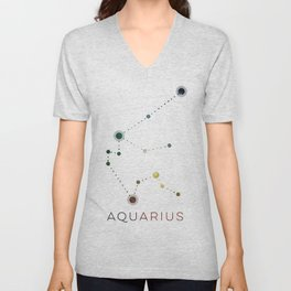 AQUARIUS STAR CONSTELLATION ZODIAC SIGN Unisex V-Neck