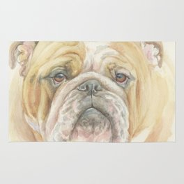 Bully ENGLISH BULLDOG FACE Dog portrait Watercolor painting  Cute Pet decor for Dog Lover Rug