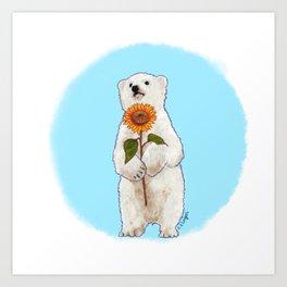 Romantic Bear Cub Art Print