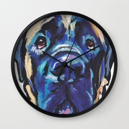 Fun ENGLISH MASTIFF Dog bright colorful Pop Art Painting by LEA Wall Clock