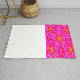 Modern Abstracted Fuchsia-Pink Floral Pattern Rug