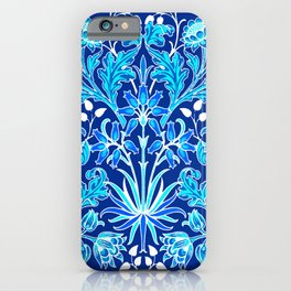 William Morris Hyacinth Print, Navy and Cobalt Blue iPhone Case