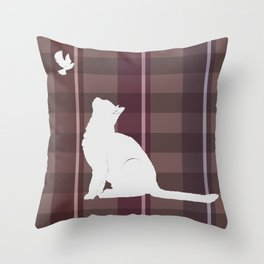 Cat and Bird in Red Throw Pillow