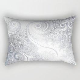 White Silver Fractal Spiral Glow Rectangular Pillow