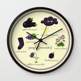 Colors: purple (Los colores: morado) Wall Clock